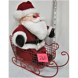 "12"" Plush Santa in Red Wire Metal Sleigh"