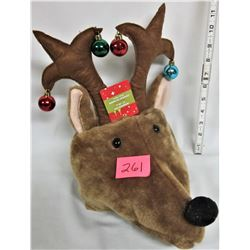 Plush Rudolph Reindeer Hat/Mini Xmas Balls on Antlers
