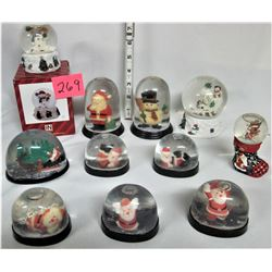 Lot of 8 Xmas Plastic Water Globes, Vintage Decorations, plus 3 Ceramic Xmas Glass Water Globes