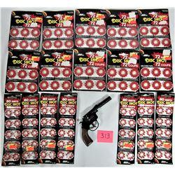 "Lot of Cap Gun Disc Cards, plus Metal ""8 shot"" ""Victory"" Revolver Cap Gun w/Silencer"