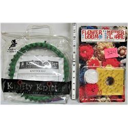 """New Plastic """"Flower Loom"""" Kit and """"Knifty Knitter"""""""