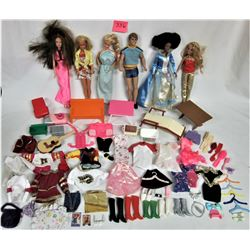 Lot of 6 Barbie Dolls, w/clothing and accessories