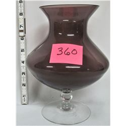 "8 1/2"" Tall Purple Transparent ""Footed"" Vase"