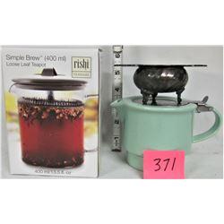 "Boxed Simple Brew - Loose Leaf Teapot, and Green ""David's Tea"" For Life Teapot, vintage tea bag stra"