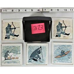 "Set of (5) 3 1/4"" Vintage Square Plastic ORNAMIN ""Eskimo/Inuit"" Serving Trays"
