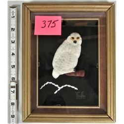 """Framed and Matted 5""""x7"""" """"Snowy Owl"""" Caribou Hair Tufting"""