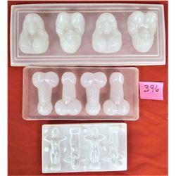 """Set of 3 Plastic """"Adult"""" Ice Cube Trays"""