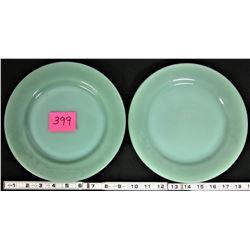 "2 Vintage Fire King Jadite 9"" RESTAURANT WEAR Dinner Plates"