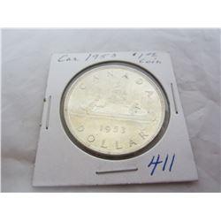 Canadian Silver Dollar 1953