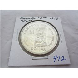 Canadian Silver Dollar 1958