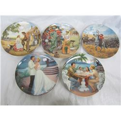 5 Collector Plates Movies with Boxes and COA
