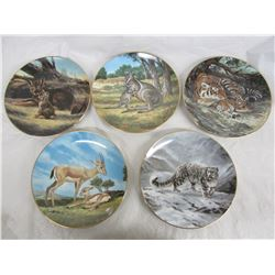 5 Collector Plates Animals with Boxes and COA