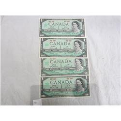 4 One Dollar Bills 1967