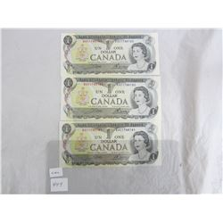 3 One Dollar Bills 1973 in Sequence