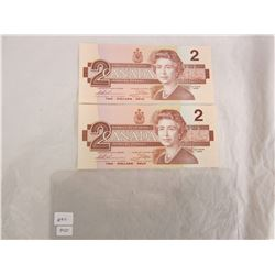 Two 2 Dollar Bills 1986 in Sequence
