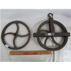 Lot of 2 Cast Iron Well Pulleys
