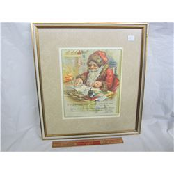 Framed Christmas Poem from Antique Book