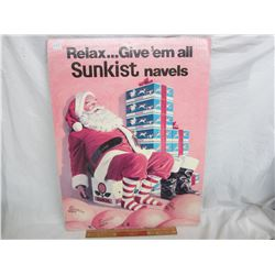 Vintage Sunkist double sided cardboard Christmas Sign