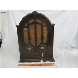 Antique Tombstone Radio with Walnut Case Battery Operated