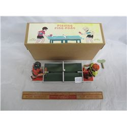 Key Wind Tin Toy 2 boys playing Ping Pong with box