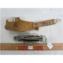 Vintage large pocketknife with leather sheath