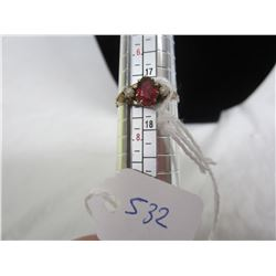 Ladies 10kt Gold Ring Ruby and Pearls
