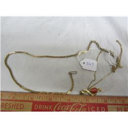 Lot of 2 costume gold colored chains 1 with pendant