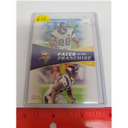 Adrian Peterson & Percy Harevin, Minnesota Vikings, NFL Football Card. Faces of the Franchise. 2011