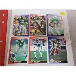 Lot of 6 Philadelphia Eagles NFL Football Cards. Includes Randall Cunningham & Calvin Williams. 1991
