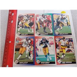 Lot of 6 Pittsburgh Steelers NFL Football Cards. Includes Louis Lipps & Donald Evans. 1991 Score. Ge