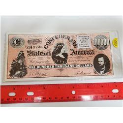 Confederate States of American 1864 $100,000 Facsimile. Richmond Virginia. AU.