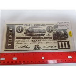 State of Indiana 1819 $3 Replica. Reverse has advertising for Indianapolis Coin Show, 1968. Unc.