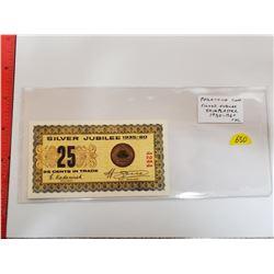 1935-1960 Silver Jubilee Shinplaster Scrip of Phila-Coin in Regina. Issued by Hans Zoell, legendary