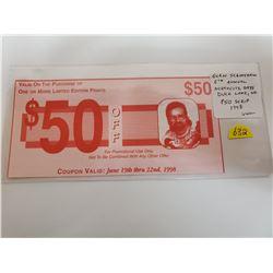 Glen Scrimshaw $50 Off Coupon Scrip. 6th Annual Northcote Ddays, Duck Lake, Sask. 1998. Scrimshaw is