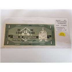 Esterhazy Saskatchewan Bank of Potashville One K-Buck Scrip issued by International Minerals & Chemi