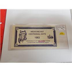 Medicine Hat Centennial Note 1983 $10 Scrip. AU. Scarce.