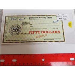 Publishers Clearing House $50 Scrip. Unc.