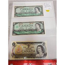 Lot of 3 $1 notes: 1954 Modified Portrait, Beattie-Rasminsky signatures; 1867-1967 Beattie-Rasminsky