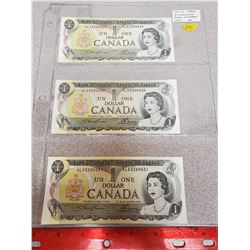 Lot of 3 Consecutive Serial Numbered 1973 $1 notes. Lawson-Bouey signatures. ALA3244429, 3244430, 32