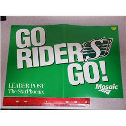 "Poster of 2013 Saskatchewan Roughriders Grey Cup at Mosaic Stadium in Regina. Poster measures 11"" X"