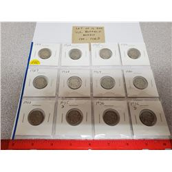 Lot of 12 different U.S. Buffalo Nickels 1919 – 1936D. Includes 1919, 1920, 1925, 1926, 1927, 1928,