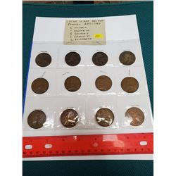 Lot of 12 different British pennies 1887 – 1964. Includes 2 Victoria, 1 Edward VII, 5 George V, 2 Ge