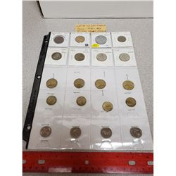 Lot of 20 different French coins 1855 – 1989. Includes Emperor Napoleon III 1855 5 centimes.