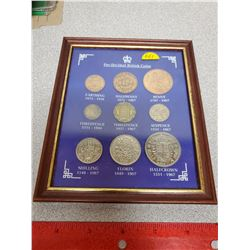 Set of 9 British Pre-Decimal Coins housed in a wooden frame. Includes farthing, half penny, penny, s