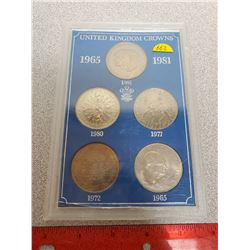 Set of 5 British crowns including 1965 Winston Churchill, 1972 25th Anniversary of the Marriage of E