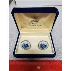 Set of Royal Copenhagen crown cufflinks. In case of issue.