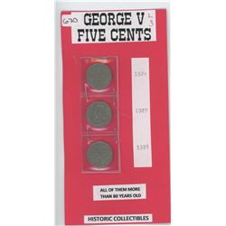 Five Cents 1924,1927 and 1928