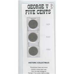 Five Cents 1934,1935 and 1936