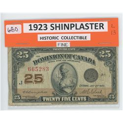 1923 Shinplaster - 25 Cent Banknote - Historic Collectible