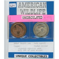American Wildlife Medals - Great Horned Owl and Jack Rabbit